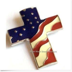 Silver American US Flag Cross Pin Brooch Christian